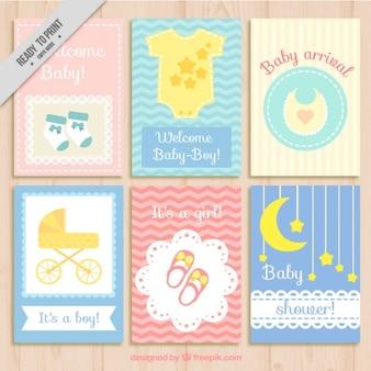 Colección de tarjetas bonitas de bienvenida de bebé