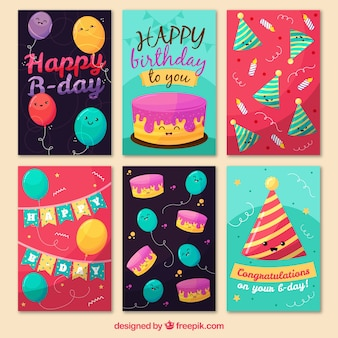 Colección de tarjetas bonitas de cumpleaños