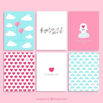 Colección de tarjetas bonitas de san valentín