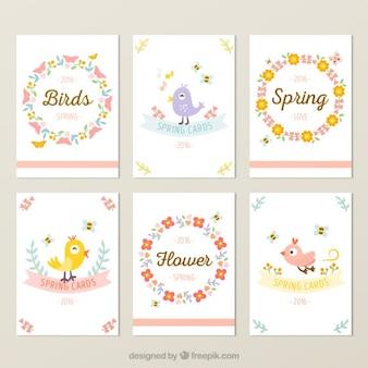 Colección de tarjetas bonitas primaverales