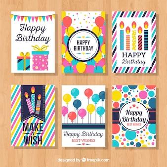 Colección de tarjetas coloridas de cumpleaños
