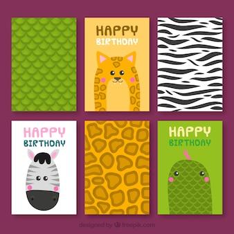 Colección de tarjetas con animales salvajes y pieles