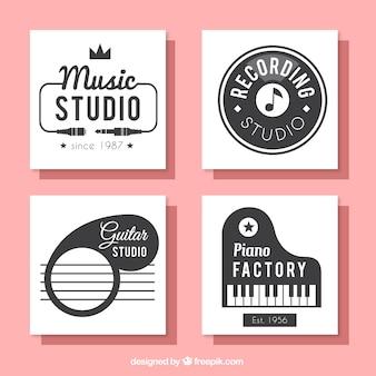 Colección de tarjetas cuadradas para un estudio de música