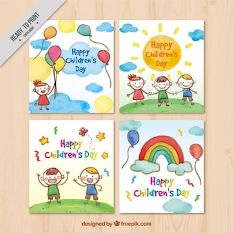 Colección de tarjetas de acuarela del día del niño