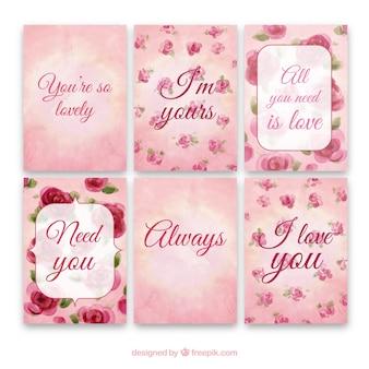 Colección de tarjetas de acuarela románticas