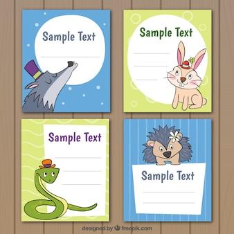 Colección de tarjetas de animales dibujados a mano