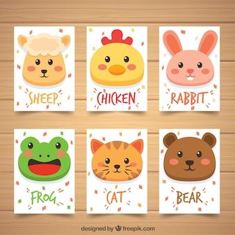 Colección de tarjetas de animales
