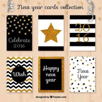 Colección de tarjetas de año nuevo de purpurina