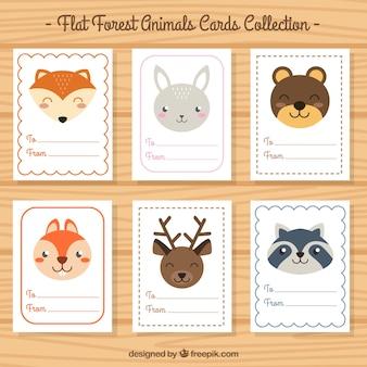 Colección de tarjetas de bonitos animales en diseño plano