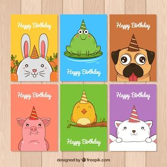 Colección de tarjetas de cumpleaños con animales dibujados a mano