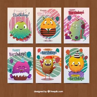 Colección de tarjetas de cumpleaños con lindos monstruos