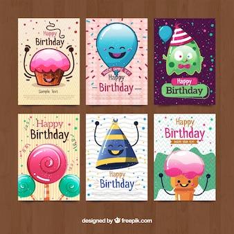 Colección de tarjetas de cumpleaños con personajes divertidos