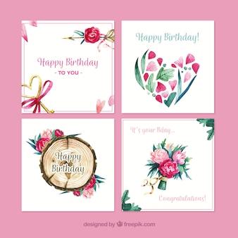 Colección de tarjetas de cumpleaños de naturaleza en acuarela