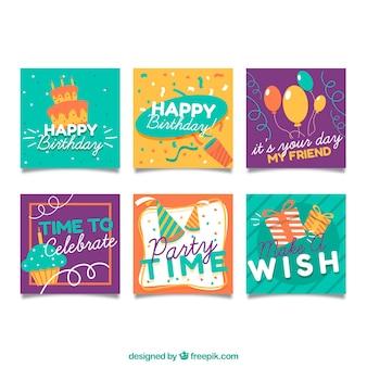 Colección de tarjetas de cumpleaños pequeñas
