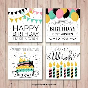 Colección de tarjetas de cumpleaños planas