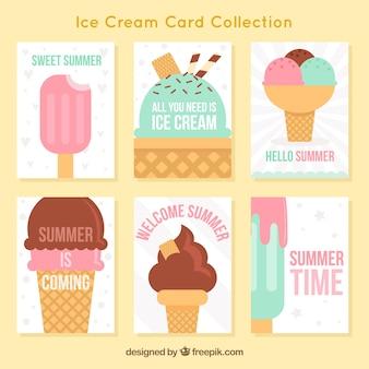 Colección de tarjetas de helados