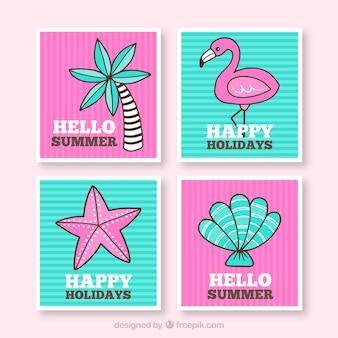 Colección de tarjetas de hola verano