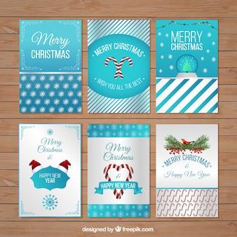 Colección de tarjetas de navidad Azules