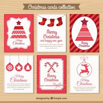 Colección de tarjetas de navidad rojas