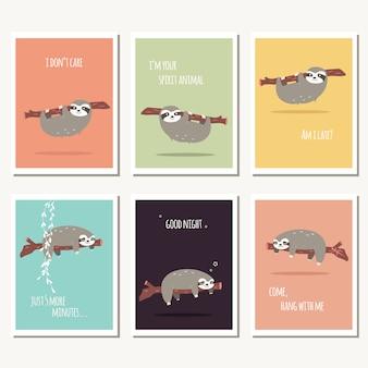 Colección de tarjetas de perezosos