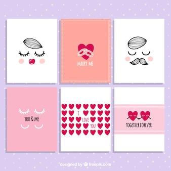 Colección de tarjetas de san valentín adorables