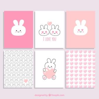 Colección de tarjetas de san valentín de conejos