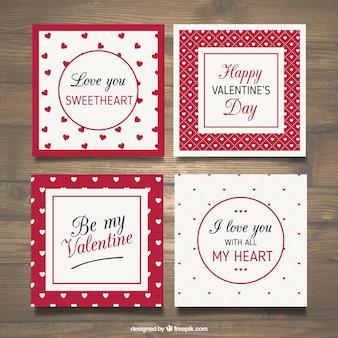 Colección de tarjetas de san valentín rojas