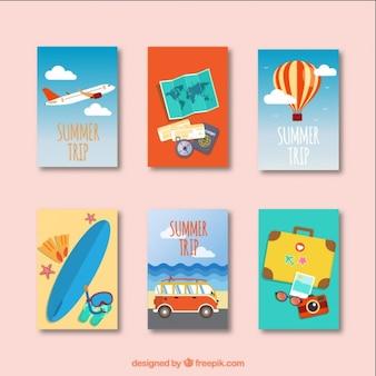 Colección de tarjetas de viaje de verano