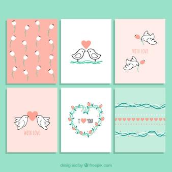 Colección de tarjetas del día de san valentín de pájaros