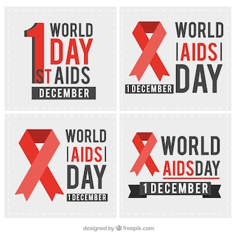 Colección de tarjetas del día mundial del sida