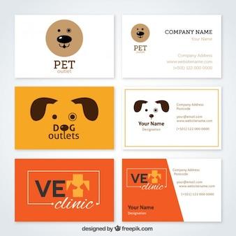 Colección de tarjetas divertidas de veterinaria