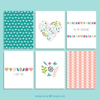 Colección de tarjetas florales de san valentín
