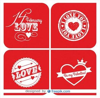 Colección de tarjetas retro del día de San Valentín en diseño de color rojo