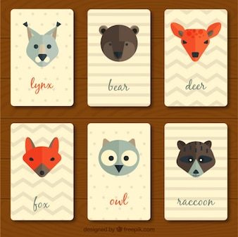 Colección de tarjetas vintage de animales en diseño plano
