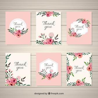 Colección de tarjetas vintage de flores