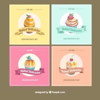 Colección de tarjetas vintage de panadería