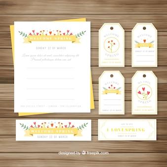 Colección de tarjetas y etiquetas de primavera