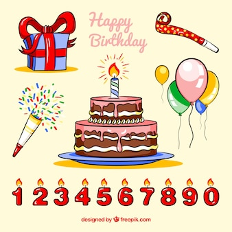Colección de tarta de cumpleaños y otros elementos de celebración