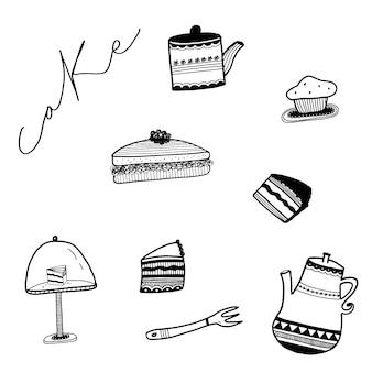 Colección de tartas dibujadas a mano