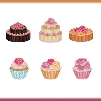Colección de tartas y pastelitos con rosas