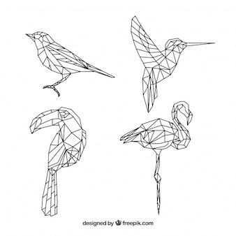 Colección de tatuajes con pájaros en forma geométrica