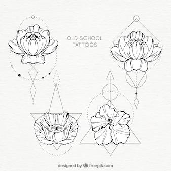 Colección de tatuajes de flores con formas geométricas