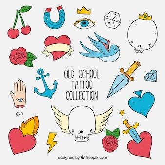 Colección de tatuajes old school a color divertidos a mano