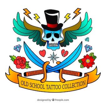 Colección de tatuajes old school coloridos dibujados a mano