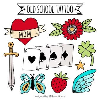 Colección de tatuajes old school dibujados a mano