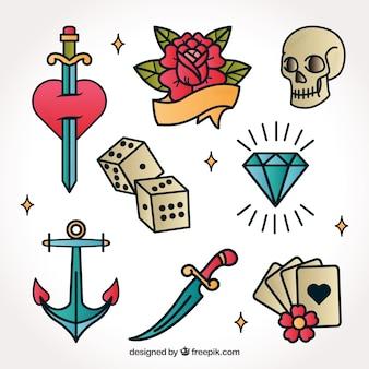 Colección de tatuajes retro dibujados a mano