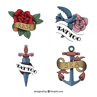 Colección de tatuajes vintage con diseño plano
