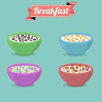 Colección de tazones de cereales a color