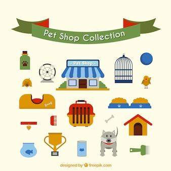 Colección de tienda de animales en estilo plano