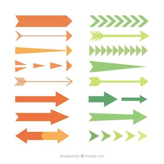 Colección de tipos de flechas en diseño plano